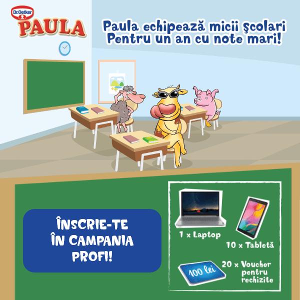Paula echipează noii şcolari pentru un an cu note mari! Înscrie-te în campania Profi